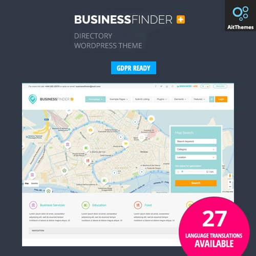 Business Finder Directory Listing WordPress Theme