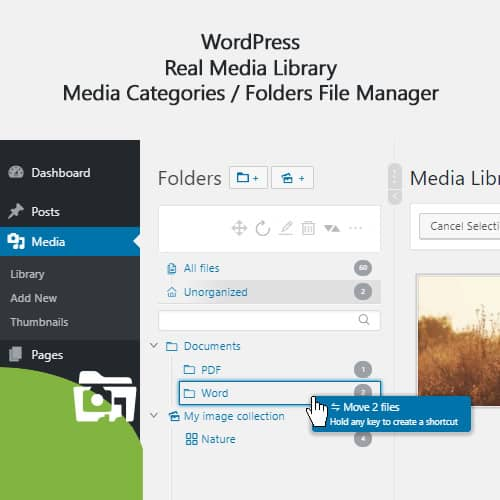 WordPress Real Media Library Media Categories Folders File Manager